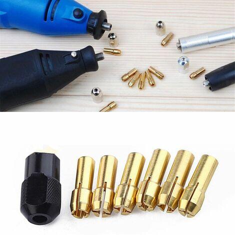 7 pièces / ensemble mandrins de forage en laiton embouts de serrage 1-3.2mm écrou de vis de tige Dremel rotatif or