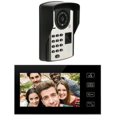 7 pouces TFT LCD 1024 * 600 Digital Sonnette Wifi Intelligent antipluie videophone ecran tactile d'empreintes digitales Telecommande de deverrouillage par mot de passe