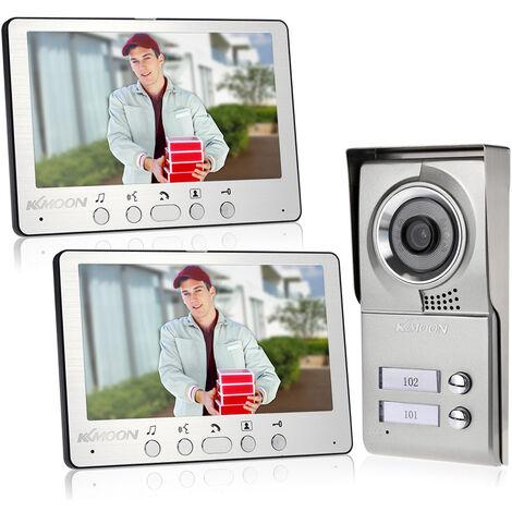 7 Pouces Wired Videophone Support Deverrouillage Vision Pluie Nocturne Infrarouge Avec 2 + 1 * Unite Interieure Unite Exterieure