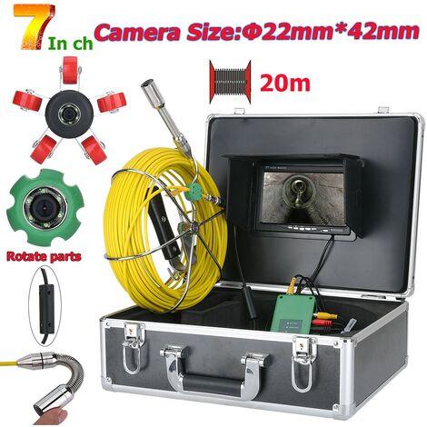 7 pulgadas de 22 mm Manguera de Inspeccion de la camara de video 20M IP68 a prueba de agua Sistema de drenaje de tuberia desde la camara en camara inspeccion de la alcantarilla con 1000 lineas de TV 6W luces LED