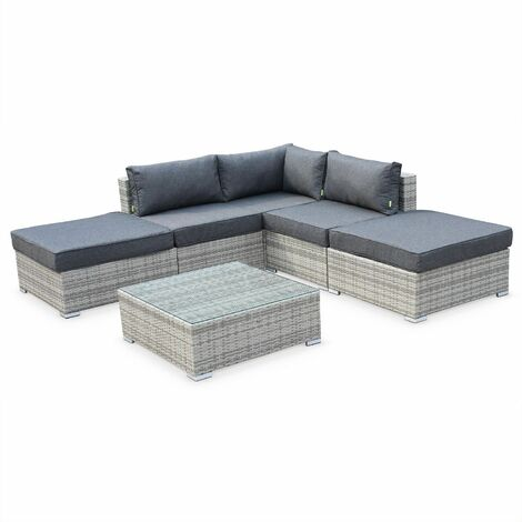 7-seater garden sofa set, mixed grey