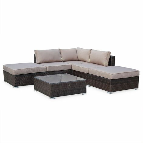 7-seater rattan garden furniture corner sofa set table, mixed grey wicker weave. Conservatory furniture. Ready assembled