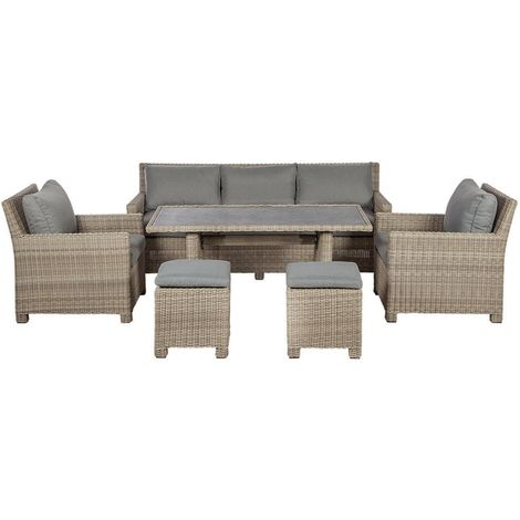 7 Seater Wentworth Sofa Dining Set - 3 Seat Sofa, 2 Armchairs, 150cm x 80cm Adjustable Dining Table And 2 Stools Incl. Cushions