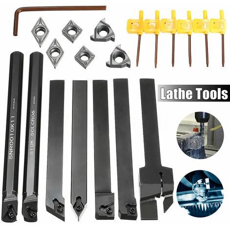 7 Set Rod Lathe Tool Holder Turning Boring Bar + 7Pcs Dcmt Ccmt Carbide