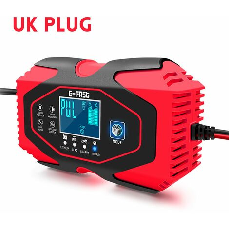 7 Stage Auto Car Battery Charger Charging Fully Smart Motorcycle Charger Maintainer for Car, Motorcycle, Lawn Mower, Boat, RV, SUV, ATV and more (Red, UK PLUG 7 Stage Charge)