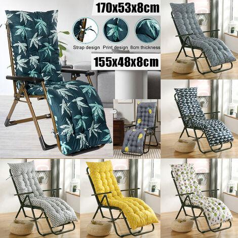 [7 Styles 170x53x8cm / 155x48x8cm] Replacement Polyester Lounge Chair Cushion Garden Patio Furniture Cushion Thick Recliner Chair Cushion Relaxing Cushion (only cushion)