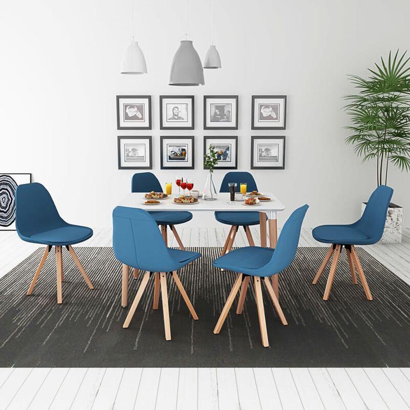 7-teilige Essgruppe Tisch Stühle Weiß und Blau - ZQYRLAR
