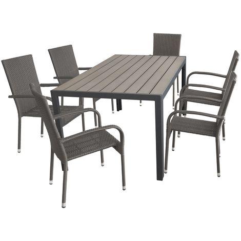 7 Teilige Gartengarnitur Aluminium Polywood Non Wood Gartentisch