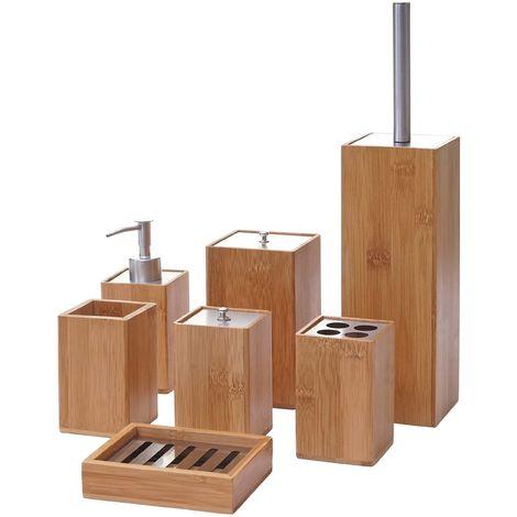 7-teiliges Badset HHG-786, WC-Garnitur Badezimmerset Badaccessoires Seifenspender Zahnbürstenhalter Seifenschale, Bambus