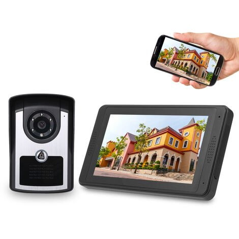 "7"" Tft Lcd Sans Fil Smart Wifi Videophone Interphone 1000Tvl Camera Filaire Sonnette"