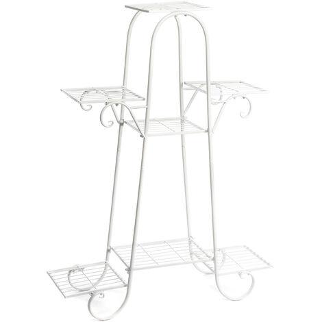 7 Tier Ladder Metal Plant Stand Garden Flower Shelf Rack 76 * 25 * 102cm White