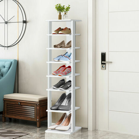 7-Tier Wood Shoe Rack Stand Storage Organiser Shelf Space Saving Unit White
