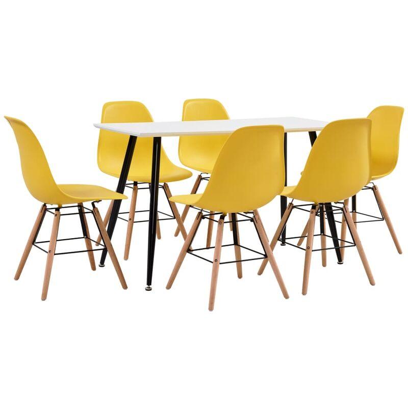 7-tlg. Essgruppe Kunststoff Gelb - VIDAXL