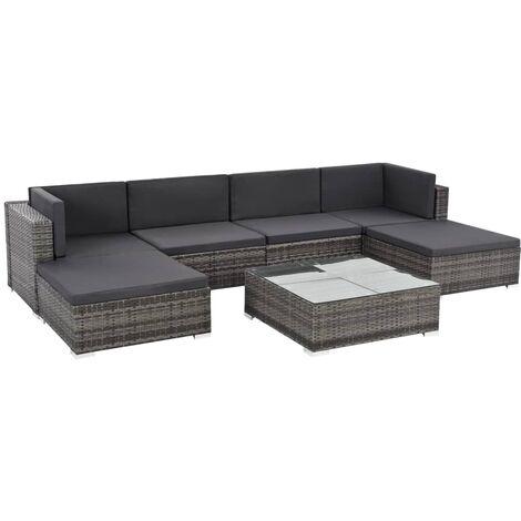 7 tlg garten lounge set mit auflagen poly rattan grau