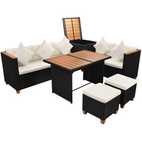 7-tlg. Garten-Lounge-Set mit Auflagen Poly Rattan Schwarz -