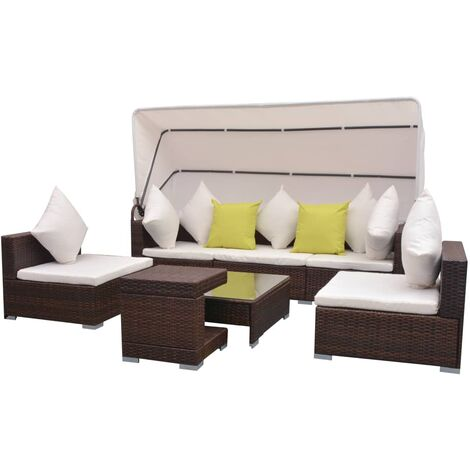 7-tlg. Garten-Lounge-Set mit Sonnendach Poly Rattan Braun