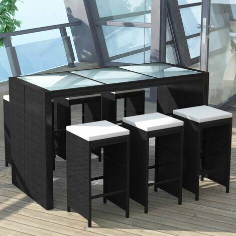 7-tlg. Gartenbar-Set mit Auflagen Poly Rattan Schwarz