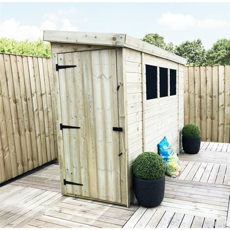 7 x 3 Reverse Pressure Treated Tongue And Groove Pent Shed With 3 Windows + Side Door + Safety Toughened Glass