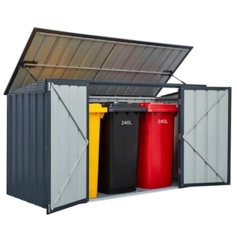 7 X 3 Triple Bin Store Anthracite Grey (2.33m X 0.95m)