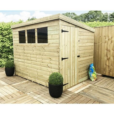 7 x 4 Pressure Treated Tongue And Groove Pent Shed With 3 Windows And Single Door + Safety Toughened Glass