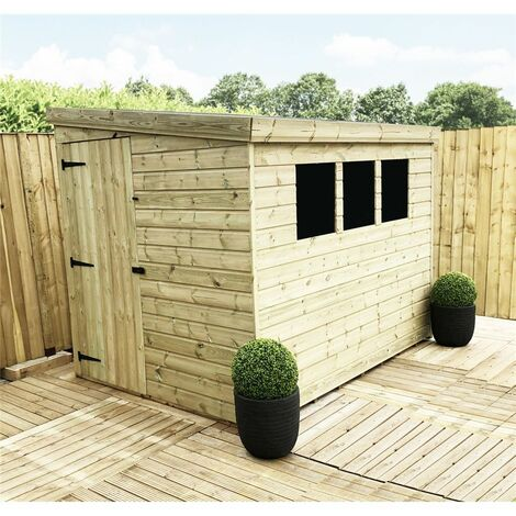 7 x 4 Pressure Treated Tongue & Groove Pent Shed + 3 Windows + Single Door + Safety Toughened Glass