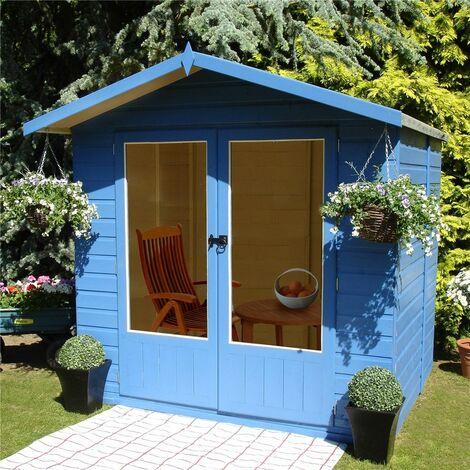 7 x 5 (2.05m x 1.55m) - Premier Wooden Summerhouse - Double Doors - 12mm T&G Walls & Floor