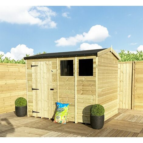"""7 x 5 **Flash Reduction** REVERSE Super Saver Pressure Treated Tongue And Groove Single Door Apex Shed (High Eaves 74"""") + 1 Window"""