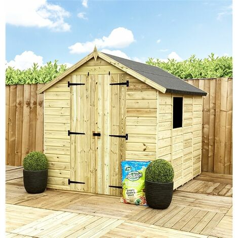 7 x 5 **Flash Reduction** Super Saver Pressure Treated Tongue & Groove Apex Shed + Double Doors + Low Eaves + 1 Window