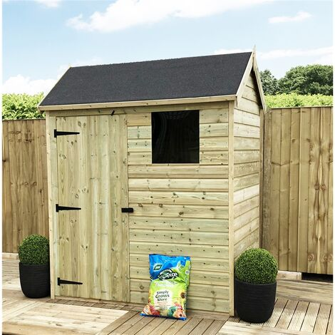 """main image of """"7 x 5 Reverse Apex Premier Pressure Treated Tongue And Groove Shed With Higher Eaves And Ridge Height + 1 Windows + Single Door + Safety Toughened Glass"""""""