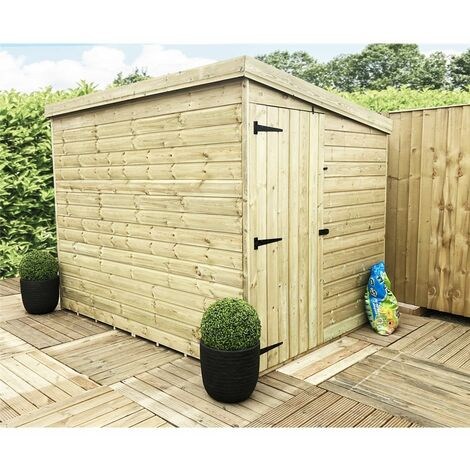 7 x 5 Windowless Pressure Treated Tongue And Groove Pent Shed With Side Door