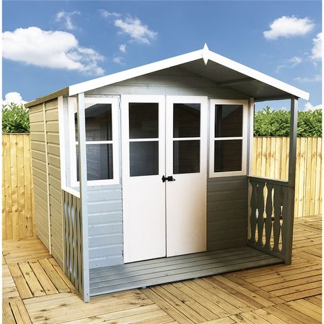 7 x 7 (2.05m x 1.55m) - Premier Wooden Summerhouse - Double Doors - Side Windows - 12mm T&G Walls & Floor (Show Site)