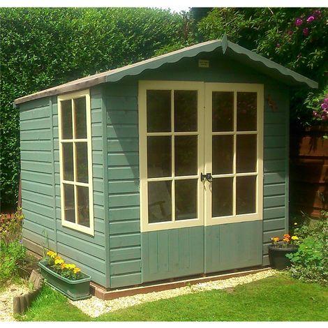 7 x 7 (2.05m x 1.98m) - Premier Pressure Treated Wooden Summerhouse - Double Doors - 1 Opening Window - 12mm T&G Walls - Floor - Roof