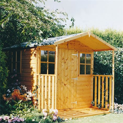 7 x 7 (2.05m x 1.98m) - Tongue & Groove - Apex Garden Shed - Veranda - 2 Windows - Single Door - 12mm Tongue and Groove Floor