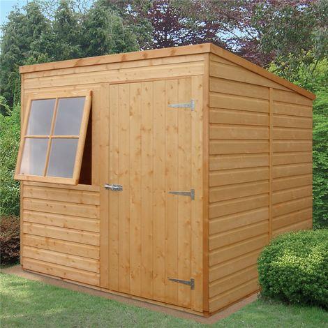 7 x 7 (2.05m x 1.98m) - Tongue & Groove - Pent Garden Shed / Workshop - 1 Opening Window - Single Door - 10mm OSB Floor