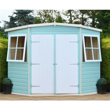 7 x 7 (2.07m x 2.07m) - Tongue & Groove Corner Garden Pent Shed / Workshop - 2 Opening Windows - Double Doors - 12mm T&G Floor