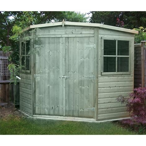 7 x 7 (2.09m x 2.09m) - Pressure Treated Tongue And Groove - Corner Shed - 2 Opening Windows - Double Doors - 12mm Tongue And Groove