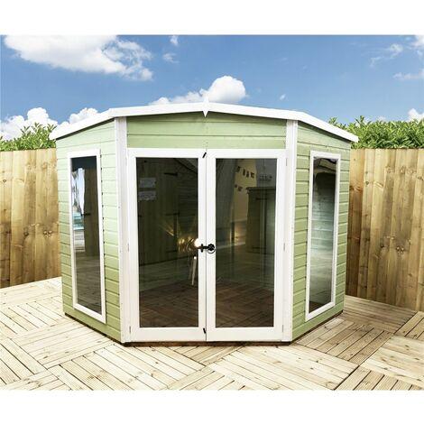 7 x 7 (2.69m x 2.05m) - Premier Corner Wooden Summerhouse - Double Doors - Side Windows - 12mm T&G Walls & Floor
