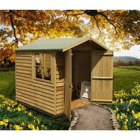 7 x 7 Pressure Treated Overlap Apex Wooden Garden Shed With 1 Opening Window And Double Doors (11mm Solid OSB Floor) - CORE