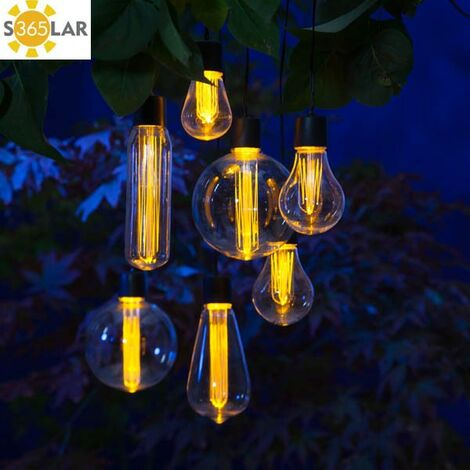 7 x Noma Solar Edison Bulb String Garden Lights 1017024 Hanging Lightbulb LED