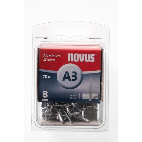 8 mm,Typ A3//8mm  Nr. 045-0029 70 Novus Aluminium Blindnieten Ø3 mm