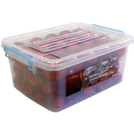 Aufbewahrungsbox Weihnachtskugeln.70 Stück Weihnachtsbaumkugeln Set ø4 5 6cm Rot Inklusive Aufbewahrungsbox Christbaumkugeln Baumkugeln Tannenbaumschmuck Weihnachtsdekoration