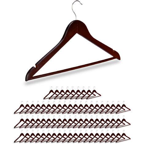 70 x Kleiderbügel Holz, Kerben, Hosensteg, Garderobenbügel, 360° drehbarer Haken, Holzbügel, 44,5 cm breit, braun