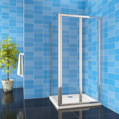 700/760/800/860/900/1000mm Framed Bifold Shower Door Enclosure with Tray Waste
