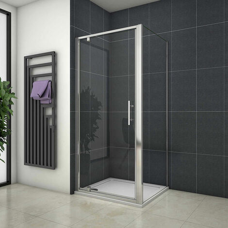700/760/800/860/900/1000mm Pivot Shower Door Enclosure Cubicle Tray Waste
