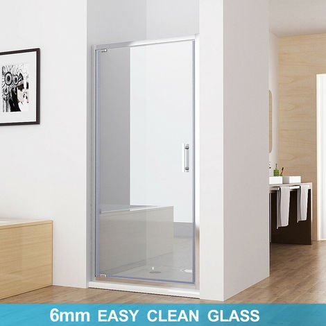 700 mm MIQU Pivot Shower Door Enclosure 6mm Safety Nano Glass Shower Cubicle 1850 mm Height - No Tray