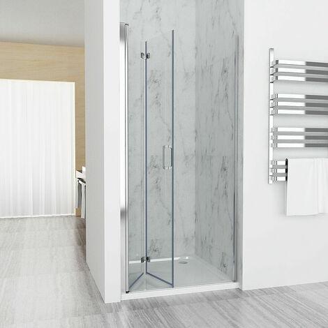 700 mm Shower Enclosure Cubicle Door Corner Entray Bifold Door 6 mm EasyClean Glass - No Tray