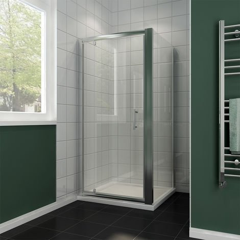 700 x 700 mm Pivot Hinge Shower Enclosure 6mm Safety Glass Shower Screen Reversible Cubicle Door with Side Panel Set