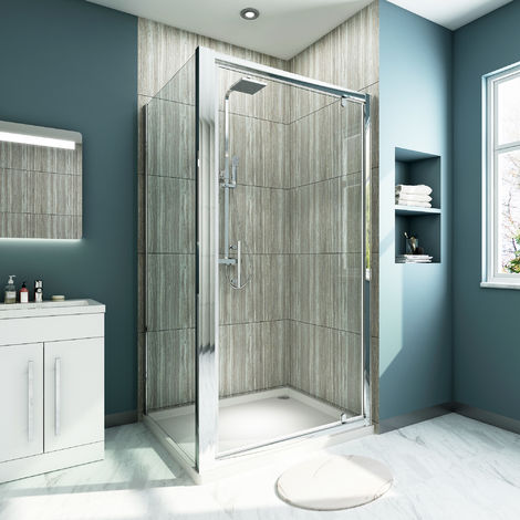 700 x 760 mm Pivot Shower Enclosure Glass Screen Cubicle Panel + Side Panel