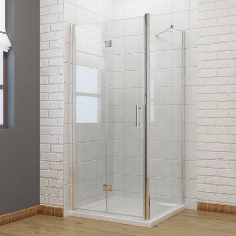 700 x 900 mm Bifold Shower Enclosure Glass Shower Door Reversible Folding Cubicle Door with Shower Tray + Side Panel