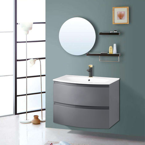 700mm Gloss Grey Curved Vanity Unit with Basin Bathroom Drawer Furniture